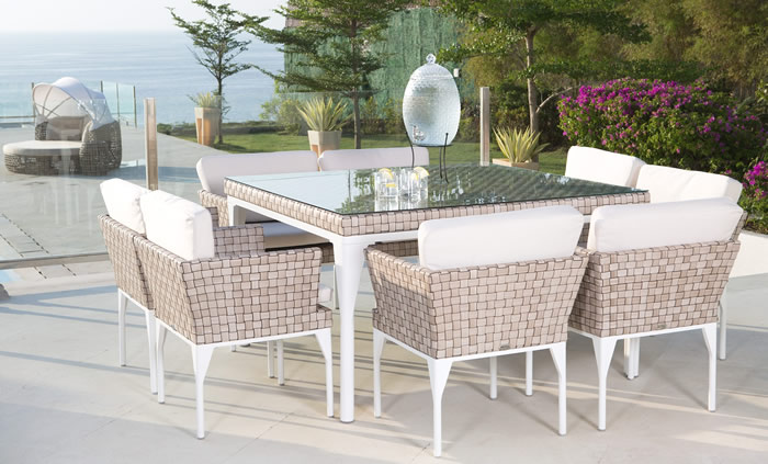 Brafta Square 160cm Table with 8 Armchairs